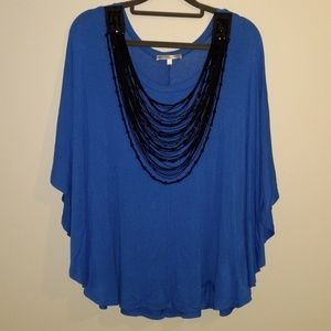 Collective Concepts Batwing Top Blue Black Beads L